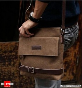 Men's Vintage Canvas Leather Shoulder Bag Coffee Colour