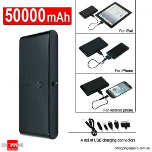 50000mAh Universal Dual USB Port Power Bank Rechargeable Battery for iPad iPhone Samsung Black Colour