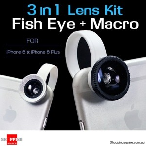 3 in 1 Fish Eye + Wide Angle Macro Lens Kit for iPhone 6S/6 and 6 Plus