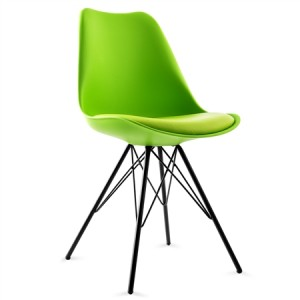 Set of Plastic Eames Replica Chairs with Cushion Seat-Green