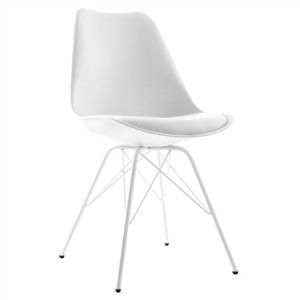 Set of Plastic Eames Replica Chairs with Cushion Seat-White