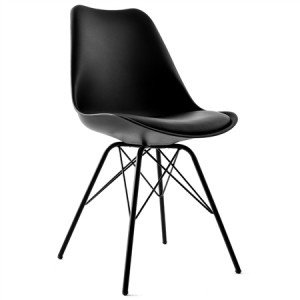 Set of Plastic Eames Replica Chairs with Cushion Seat-Black