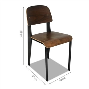 Set of Retro Steel and Wood Dining Chairs -Walnut