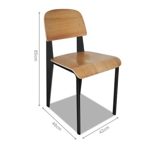 Set of Retro Steel and Wood Dining Chairs -- Rubberwood
