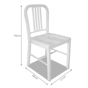 Set of Metal Navy Dining Chairs-White