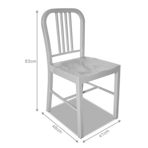 Set of Metal Navy Dining Chairs-Silver