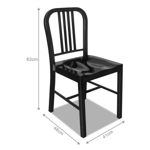 Set of Metal Navy Dining Chairs-Black