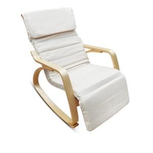 White Birchwood Rocking Chair with Cushion