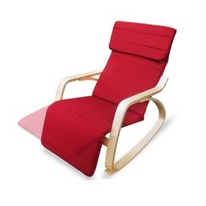 Red Birchwood Rocking Chair with Cushion