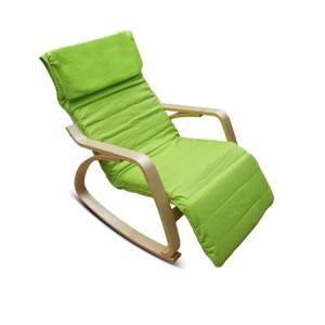 Green Birchwood Rocking Chair with Cushion