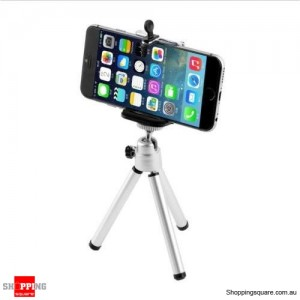 Universal Mini Stand Tripod Mount+Holder for iPhone 6 Plus/6S Plus 5S Samsung Galaxy SILVER