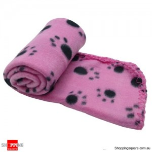 Dog and Cat Soft Warm Paw Print Blanket for Bed Pink Colour
