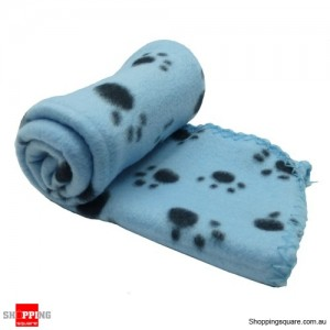 Dog and Cat Soft Warm Paw Print Blanket for Bed Light Blue Colour