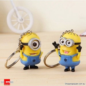 2pcs Hot Cute Despicable Me 2 Minions 3D Rubber Key Chain