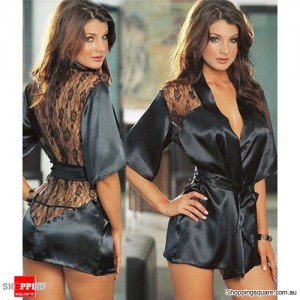 Women's Sexy Satin G-string Lingerie Robe Pajamas Nightie Sleepwear Black Colour