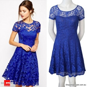 Women's Floral Lace Cocktail Party Office Lady OL Mini Dress Blue Colour Size 6