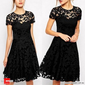Women's Floral Lace Cocktail Party Office Lady OL Mini Dress Black Colour Size 14