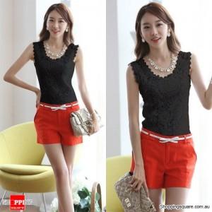 Womens Korean Floral Lace Sleeveless Vest Tank Top Shirt Blouse Black Colour Size 6