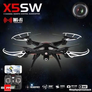 Syma X5SW WiFi FPV Real-Time 2.4G 6Axis 4CH 2MP Remote Control Quadcopter BLACK + Bonus 1PC Spare Battery