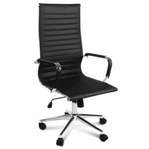 High Back Black  Replica PU Leather Eames Office Chair