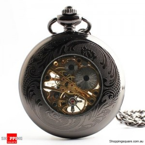 Classic Black Smooth Skeleton Windup Mechanical Vintage Chain Pocket Watch