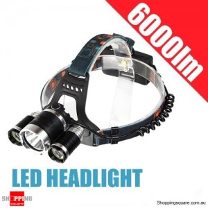 Rechargeable 6000LM 3x CREE XML U2 LED HeadLight 18650 Torch