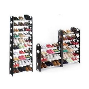 60 Pair Shoe Stackable Storage Rack - Black