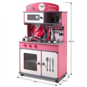 Pink Wooden Toy Kitchen Set