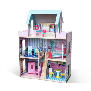 5 Room Wooden Doll House Toy with Furniture