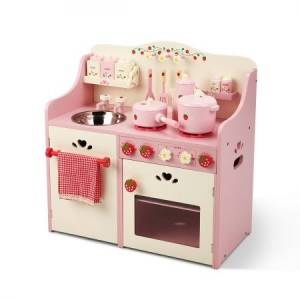 Wooden Toy Kitchen with Cookware Accessories
