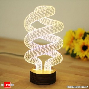 Spiral Shaped Creative 3D Micro USB LED Light Table Lamp