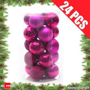 24 pcs 4cm HOT PINK Christmas Tree Baubles for Xmas Decoration