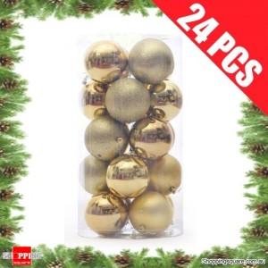 24 pcs 4cm GOLDEN Christmas Tree Baubles for Xmas Decoration