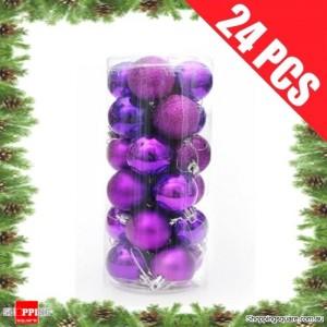 24 pcs 4cm PURPLE Christmas Tree Baubles for Xmas Decoration