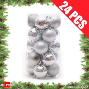 24 pcs 4cm SILVER Christmas Tree Baubles for Xmas Decoration