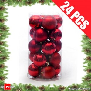 24 pcs 4cm RED Christmas Tree Baubles for Xmas Decoration