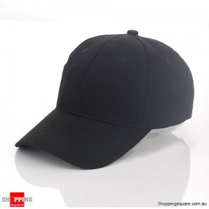Unisex Curved Plain Solid Sports Cap Hat for Golf and Baseball Black Colour