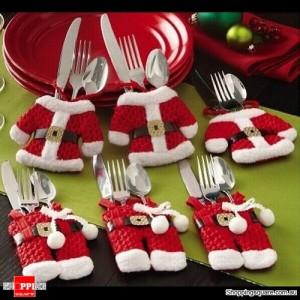 6 pcs Santa Claus Suit Cutlery Covers Christmas Dinner Tableware Decoration