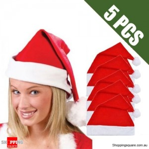 5 pcs Unisex Adult RED Santa Christmas Xmas Hats