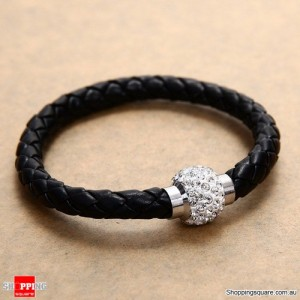 Charming Leather Magnetic Shamballa crystal Rhinestone Wrap Wristband Bracelet Black Colour