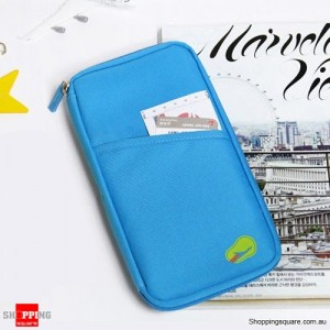 Travel Wallet Holder Organiser for Passport Document Ticket Credit Card Lighr t Blue Colour