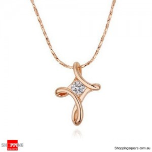 Rose Gold Rhinestone Crystal Cross Pendant Necklace GF gift