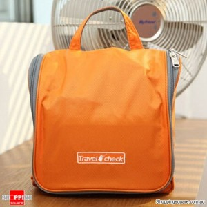 Ladies Travel Hanging Organizer Bag for Cosmetic Makeup Toiletry Storage Orange Colour