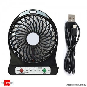 Portable USB Rechargeable Mini Electric Fan with 3 Level Speed and LED Light Black Colour