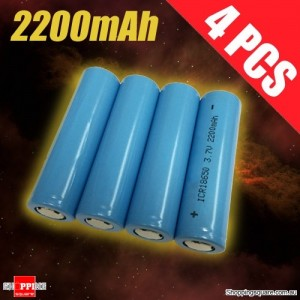 4 Pcs 18650 3.7V 2200mAh Li-ion Rechargeable Battery Cell