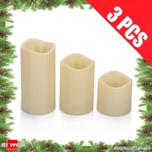 3pcs Large LED Light Flameless Candles for Xmas Christmas Wedding