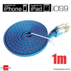 1m Blue Nylon Braided Lightning-Compatible USB Data Charging Cable for iPhone 5 6S plus iPod Touch Nano 7 iPad Air Mini