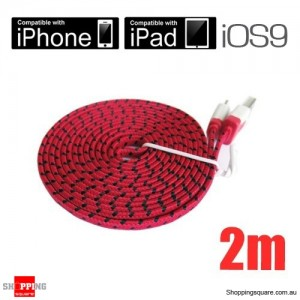 2m Red Nylon Braided Lightning-Compatible USB Data Charging Cable for iPhone 5 6S plus iPod Touch Nano 7 iPad Air Mini