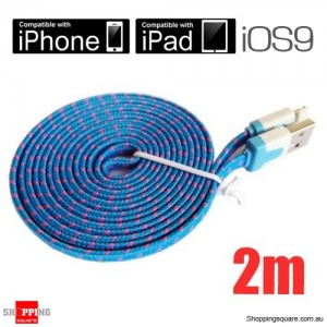2m Blue Nylon Braided Lightning-Compatible USB Data Charging Cable for iPhone 5 6S plus iPod Touch Nano 7 iPad Air Mini