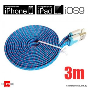 3m Blue Nylon Braided Lightning-Compatible USB Data Charging Cable for iPhone 5 6S plus iPod Touch Nano 7 iPad Air MiniBlue